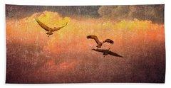 Cranes Lifting Into The Sky Hand Towel