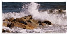 Bath Towel featuring the photograph Crashing Surf On Plum Island by Eunice Miller