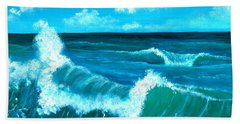 Bath Towel featuring the painting Crashing Wave by Anastasiya Malakhova