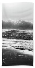 Bath Towel featuring the photograph Crashing Wave At Beach Black And White  by John McGraw
