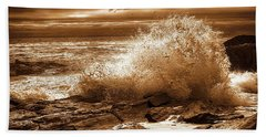 Crashing Wave Hdr Golden Glow Hand Towel by Sherman Perry