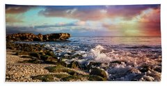 Hand Towel featuring the photograph Crashing Waves At Low Tide by Debra and Dave Vanderlaan