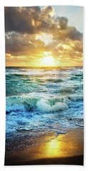 Hand Towel featuring the photograph Crashing Waves Into Shore by Debra and Dave Vanderlaan