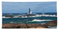 Crashing Waves On Minot Lighthouse  Bath Towel