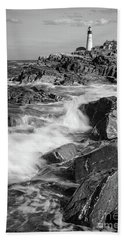 Crashing Waves, Portland Head Light, Cape Elizabeth, Maine  -5605 Bath Towel by John Bald
