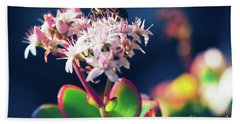 Bath Towel featuring the photograph Crassula Ovata Flowers And Honey Bee by Sharon Mau