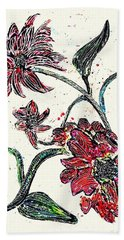 Crayon Flowers Hand Towel