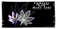 Hand Towel featuring the digital art Crazy About Mary Jane by Jacqueline Lloyd