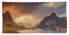 Crazy Sunset In Lofoten Hand Towel by Alex Conu