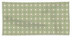 Sage Green And Cream Geometric Flower Pattern Hand Towel