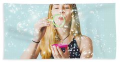 Creative Woman Blowing Birthday Party Bubbles Hand Towel