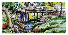 Hand Towel featuring the painting Creek Bed And Bridge by Terry Banderas
