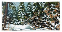 Creek, Winter, Snow Hand Towel
