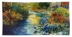 Hand Towel featuring the painting Creekside Tranquility by Hailey E Herrera