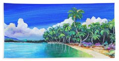 Hand Towel featuring the painting Crescent Beach by Patricia Piffath