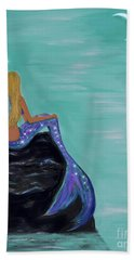 Hand Towel featuring the painting Crescent Mermaid Moon Fairy by Leslie Allen