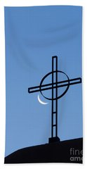 Crescent Moon And Cross Hand Towel