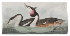 Crested Grebe Hand Towel