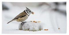 Crested Tit's Catch A Peanut Hand Towel