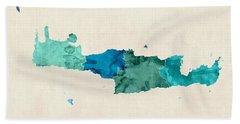 Crete Watercolor Map Bath Towel