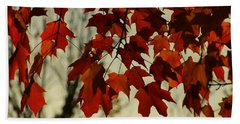 Hand Towel featuring the photograph Crimson Red Autumn Leaves by Chris Berry