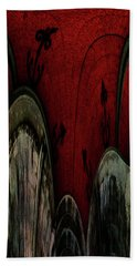 Crimson Canals Abstract Art Hand Towel