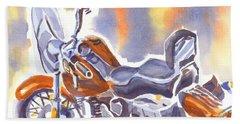 Crimson Motorcycle In Watercolor Hand Towel