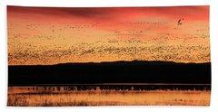 Crimson Sunset At Bosque Hand Towel