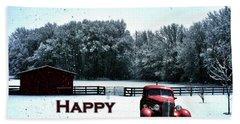 Crimson Winter Xmas Card Bath Towel