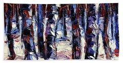 Crimson Wood Modern Impressionist Impasto Etude Palette Knife Oil Painting Bath Towel