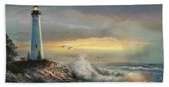 Crisp Point Lighthouse At Sunset  Hand Towel