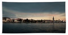 Croatian Town Of Porec At Dusk Hand Towel