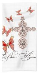 Cross Born Again Christian Inspirational Butterfly Butterflies Hand Towel