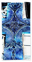 Cross In Blue Hand Towel