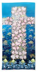 Cross Of Flowers Hand Towel by Kevin Middleton