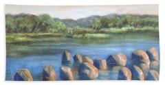 Hand Towel featuring the painting Cross Of Rocks  by Randol Burns