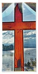 Cross Window Lake View  Hand Towel