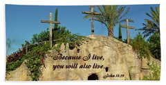 Crosses And Resurrection Bath Towel