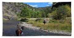 Crossing The Gila On Horseback Hand Towel