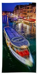 Vaporetto Crossing The Grand Canal At Night In Venice, Italy Bath Towel