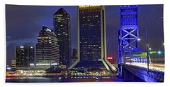 Crossing The Main Street Bridge - Jacksonville - Florida - Cityscape Hand Towel