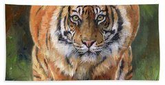 Hand Towel featuring the painting Crouching Tiger by David Stribbling