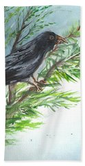 Bath Towel featuring the painting Crow by Karen Ferrand Carroll