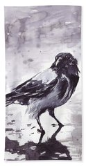 Crow Watercolor Hand Towel