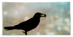 Bath Towel featuring the photograph Crow With Pistachio by Benanne Stiens