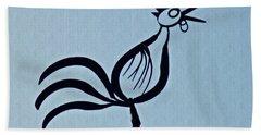 Crowing Rooster Bath Towel by Sarah Loft