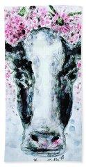 Crown Of Flowers Cow Hand Towel