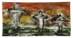 Bath Towel featuring the painting Crucifixion #2 by Michael Lucarelli