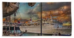 Bath Towel featuring the photograph Cruise Port by Hanny Heim