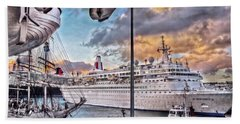 Bath Towel featuring the photograph Cruise Port - Light by Hanny Heim